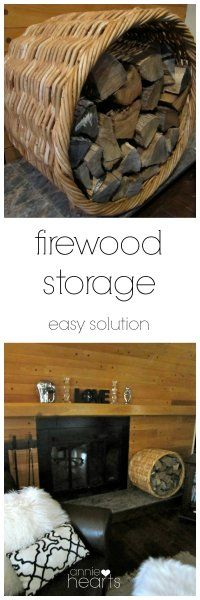 A huge thrifted basket  an easy firewood storage solution.