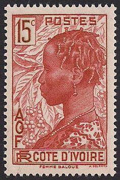 Estampilla Costa de Marfil, 1936 - Mujer Baoulé