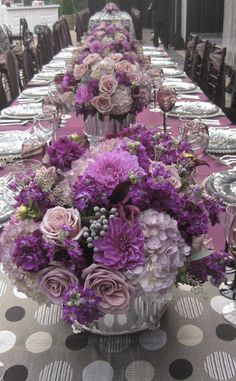 .Table with purple flowers