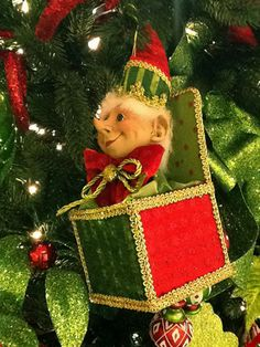 RAZ Merry Mistletoe Elf Jack in the Box Christmas decoration...new for 2013. Coming to www.trendytree.com