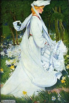 ⊰ Posing with Posies ⊱ paintings of women and flowers - 1905 illustration