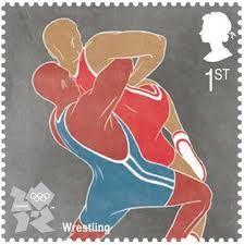 Wrestling Olympic stamp