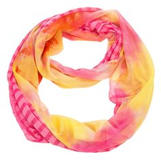 "This beautiful light weight Stripe and Tie-Dye Infinity Scarf is tie-dyed on one half and striped on the other half for double the fashion statement. This scarf would be a lovely and unique addition to any wardrobe. This scarf measures 19"" x 67"" and is available in 6 colors."