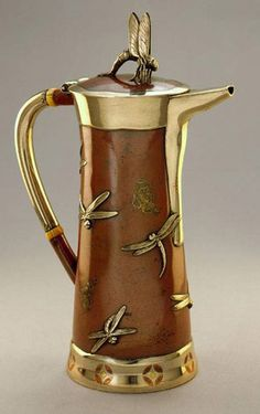 Tiffany cylindrical coffeepot with free-floating dragonflies c.1870s (SMP Silver Salon Forums)