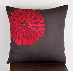 """Would like this! Red flock flower - Throw Pillow Cover -18"""" x 18"""" Decorative Pillow Cover - Dark Brown linen with Red floral Embroidery"""