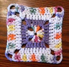 Crochet. Double crochet square (multi-color)