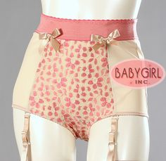 Retro Lingerie - Daisy Lace & Powernet High Waist Vintage Pin up Style Garterpanty