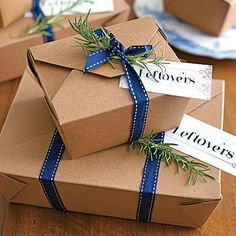 Favor Idea! | Send guests home from your holiday dinner with a yummy care package of leftovers. | SouthernLiving.com