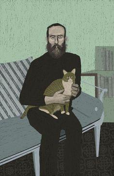 Edward Gorey and cat | Sam Kalda