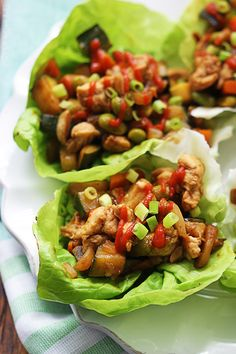 Asian Chicken Lettuce Wraps by lecremedelacrumb #Lettuce_Wraps #Chicken #Asian