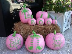 Fun pink and green pumpkins! holiday, lilli pulitz, lilly pulitzer, green, halloween pumpkins, fall, pink, house decorations, happy halloween