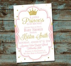 Little Princess Baby Shower Invitation, Pink and Gold, Baby Girl Shower, DIY Digital Invitation