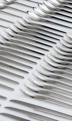 Arne Jacobsen, stainless steel flatware set for A. Michelsen, Denmark, ca.1957. / PBA Auctions