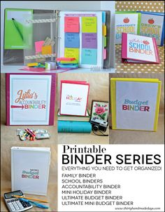 Over 100 Organizational Printables for Binders- Complete set of binders from www.thirtyhandmadedays.com