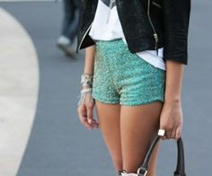 glitter shorts leather jacket..obsessed