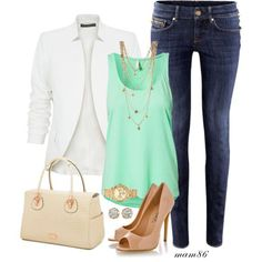 Love this outfit! I love white blazers because they go and look good with every color and pattern. Pairing together the white blazer and the mint green top make for a big pop of color.