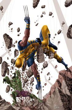 #Hulk #Fan #Art. (Hulk vs Wolverine) By: Caiocacau.