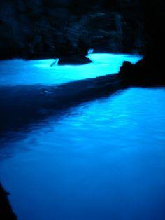 inside of blue cave, Vis, Croatia