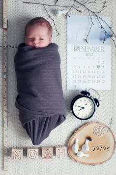 Newborn baby boy announcement - I like the idea of the calendar and clock to display date and time of birth...Maybe an old-time scale with just enough weight on it too