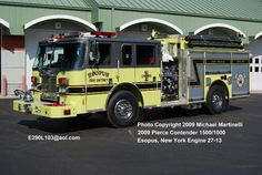 Esopus Fire Department: Engine 1 (Call sign 27-13)   First due to structure fires and auto accidents  -Seats 5 firefighter plus a driver  -1500 Gallon Tank  -1500 GPM Pump  -Onboard generator