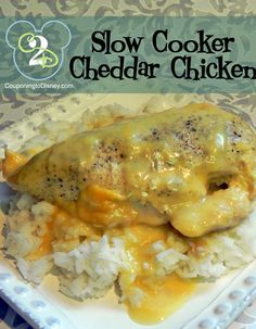 Crockpot Cheddar Chicken: •4 chix breasts •2 cans Cream of Chicken, undiluted •1 can Cheddar Cheese Soup, undiluted •Salt •Pepper •Garlic Powder -- 1.Place chicken in slow cooker. 2.Sprinkle with salt, pepper, and garlic powder. 3.In a medium sized bowl, mix soups together. 4.Pour over chicken. 5.Cover and cook for 6 to 8 hours on low.