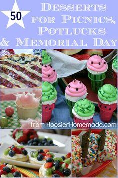 50 Desserts for Picnics, Potlucks and Memorial Day :: Recipes from HoosierHomemade.com http://hoosierhomemade.com/50-desserts-for-picnics-potlucks-memorial-day/