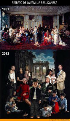 Retrato de la familia real danesa. Versión de 1883 y 2013.