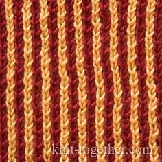 Two-Color Patent Rib and knitting pattern chart, Rib Stitches Patterns (Rib Knit)