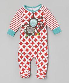 Loving this Red Lattice Monkey Footie - Infant on #zulily! #zulilyfinds