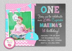 Cupcake Birthday Invitation  Chevron by TheTrendyButterfly   #cupcake #birthday #1stbirthday #chevron #chalkboard
