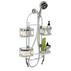 This chrome-plated over-the-shower-head expandable caddy with brushed nickel accents is perfect for handheld shower heads or large bottle storage in any bath. It has four individual baskets that adjust horizontally to best fit your bath.