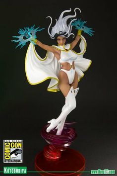 """Kotobukiya - Marvel Comics Storm White Costume Version Limited Edition Bishoujo Statue by Kotobukiya. $64.98. 2012 San Diego Comic Con exclusive. Stylized base of tumultuous air currents. Stands nearly 12"""" tall. Includes removable lightning hand effects. Limited to 2000 pieces worldwide. Kotobukiya brings you a new Limited Edition variation from their Marvel Comics Bishoujo line: Storm in her classic white costume!This is the color variant of the original costume STORM and will ..."""