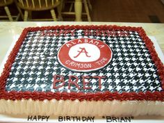 Alabama Football Houndstooth Cake.  Football Birthday cake photos. The best football cakes on Pinterest and the best football cakes on the web! Football cake ideas such as Football Stadium cakes, football field cakes, football helmet cakes, and football logo cakes. #football #cakes #gifts
