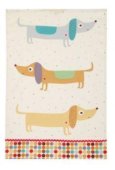 sausage dog tea towels