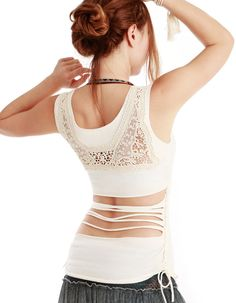 White Women top with upper back Crochet/lace detail by Shovava, $49.00