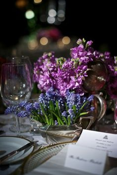 Purple and blue floral arrangement | photography by www.davidwittig.com/