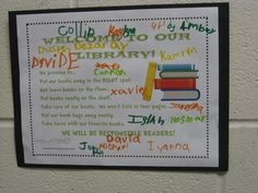 Library Promise Poster. Students read the Librarian of Basra and then come up with rules to keep the classroom library looking nice. Students sign the poster and hang it in the class library area. Cute.