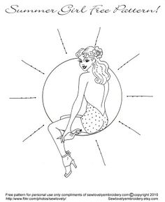Summer Girl Free Hand Embroidery Pattern! from sew lovely embroidery. hand embroidery, craft, embroidery patterns, free pattern, hand embroideri, embroideri pattern, free hand, stitching patterns, summer girls