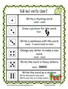 Roll and Write activity with Long e words - from Long e, ee and ea Word Work unit by Games 4 Learning. $