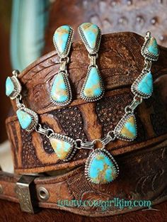 Turquoise and Cabochon Necklace and Earring Set from Cowgirl Kim