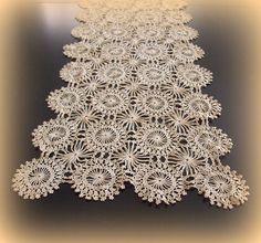 Vintage Handmade Crochet Table Runner Ecru by merrilyverilyvintage