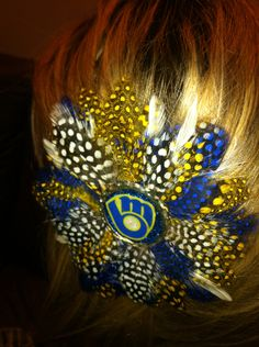 Brewers fans from our heads to our toes, especially with this Glitter Resin Feather Hair Clip $14.99, via Etsy.