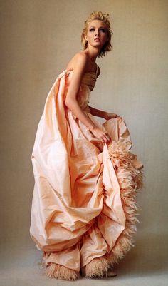 peach taffeta, ostrich feathers