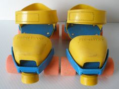 Fisher Price skates. I had a pair!!! And they never worked, I always ate the ground. Lol