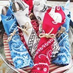 Bandanas cost about $1 each, and abound in red, white and blue. Perfect for 4th of July party napkins and decor, right?