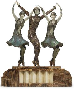 DEMETRE H. CHIPARUS (1886-1947) |  'FINALE' A PATINATED, COLD-PAINTED AND SILVERED BRONZE AND IVORY FIGURAL GROUP, CIRCA 1928