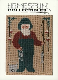 Homespun Collectibles Counted Cross Stitch Fisherman Santa Number 43 Pattern. $2.00, via Etsy.