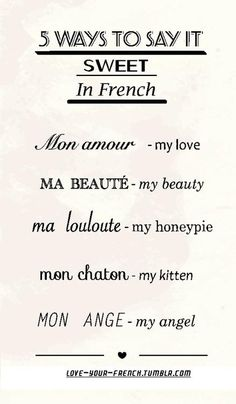 Learning French - 'Sweet' in French