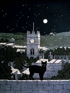 Cat in the Moonlight batik by Buffy Robinson cats, cat art, artists, british, batik artist, moonlight batik, chat, buffi robinson, black cat