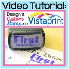 """how to design a custom stamp on vista print! Would be useful for parent contacts (""""this is speech homework"""" """"look what I did in speech today"""" """"practice with me"""")"""